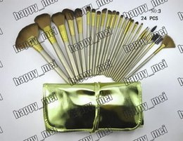 Wholesale Leather Pouch Wholesale - Factory Direct DHL Free Shipping New Makeup Brushes Nude 3 Brushes 24 Pieces Brush With Gold Leather Pouch!