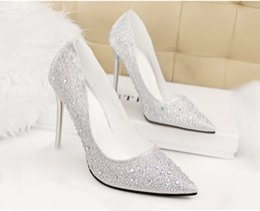 Wholesale Nightclubs Dresses - 2015 Lady Gorgeous Nightclub Evening Shoes High Heels Rhinestones Ponited Toe Sandals Woman Wedding Bridal Dress Shoes