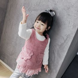 Wholesale Toddler T Shirt Vest - Toddler kids cute outfits Baby girls corduroy white bottoming T-shirts+lace hollow out hem vest dress 2pcs sets Winter Infants clothes C2273