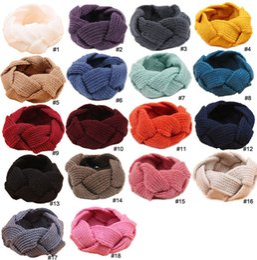 Wholesale Hair Bands Winter Accessories - 18 colors Weave Braid Twining headband Woolen Knit Warm earmuffs Stretchy hair band cuff women headwear Bandanas winter Accessories 170217