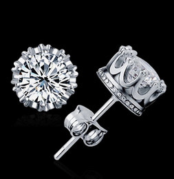 Wholesale Wholesale 18k Real Gold - Top Quality 925 Silver Crown stud earrings Fashion CZ Diamond 18K Real Gold Plated Stud Earrings Jewelry Crystal 2 Colors Free Shipping