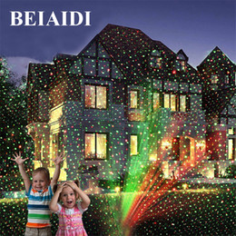 Wholesale Lighted Outdoor Christmas Star - Wholesale- BEIAIDI Outdoor R&G Laser Projector Lamp Full Sky Star Christmas Laser Show Landscape Xmas Garden Party Disco DJ LED Stage Light