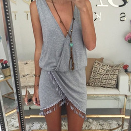 Wholesale Grey V Neck Dress - 2015 Casual Summer Dress Fringe Tassel Dresses Sexy Grey V-Neck Tulip Smock Waist Front Wrap Women Summer Dress Vestido Vestidos Z00330