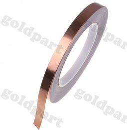 Wholesale Rolled Copper Foil - Wholesale-10 Roll 5mm*30M*0.06mm Self-Adhesive Copper Foil Tape for Magnetic Radiation  Electromagnetic Wave EMI Shielding Masking