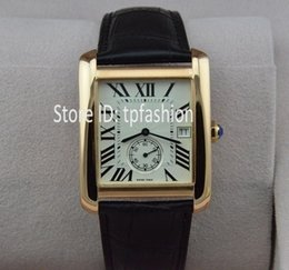 Wholesale Small Seconds Watch - Top Fashion Quartz Watch Men Hour Brand Rose Gold Small Second Dial Black Leather Strap Dress Clock Classic Rectangle Designer 5457