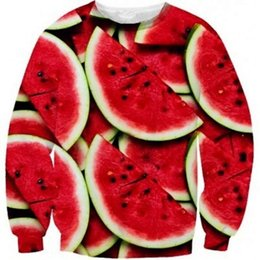 Wholesale Food Hoodie - 2015 spring watermelon 3d printed Pullovers Funny sweatshirts food fruit casual Hoodies outdoor street wear men women sportswear