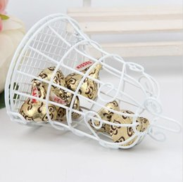 Wholesale White Wedding Candy - 7*7*10CM Fashion Wedding Favors White Bell Birdcage Style Metal Gift Candy Party Favor Box Candy Favor Holders 2016 New arrival