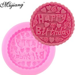 Wholesale Fondant Birthday Cakes - Happy Birthday Thin Slice Fondant Cake Decorating Tools Silicone Cake Molds Gumpaste Chocolate Candy Resin Moulds