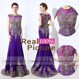Wholesale Lycra Spandex Dark Blue - Purple REAL IMAGE Evening Dresses Major Beading Illusion Formal Prom Gowns 2016 Special Occasion Dress Mermaid Crystal Celebrity Arabic