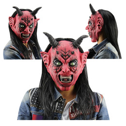 Wholesale Latex Horns - Devil Latex Mask Horror Funny Red Eyes Satan Devil Latex Mask with Wig Ox Horn for Masquerade Halloween Party Bar masquerade Halloween fun