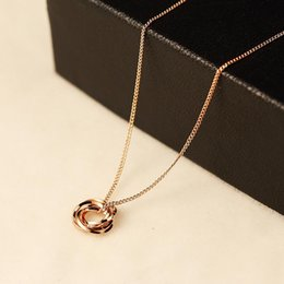 simple necklaces for indian women Promo Codes - 2017 New Dainty Rose Gold Necklaces Pendants Minimalist Simple Necklace For Woman Circle Crystal with Bar Long Necklace
