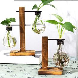 Wholesale Vase Decoration Accessories - Vintage Style Glass Tabletop Plant Bonsai Flower Wedding Decorative Vase With Wooden L T Shape Tray Home Decoration Accessories