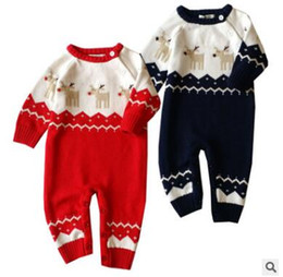 Wholesale Girls Reindeer Outfit - Newborn Knitted Christmas Moose Romper Jumpsuit Outfits Winter Boys and Girls Cotton Knitted Reindeer Sweater Onesies Xmas Climbing Clothes