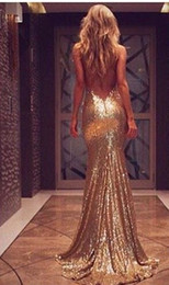Wholesale Spaghetti Strap Champagne Prom Dresses - 2016 Gold Sequin Evening Dresses Split Side Backless Prom Dresses Plus Size Long Mermaid Sequined Bridesmaid Dresses Cheap Custom Made