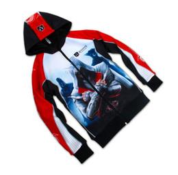 Hoodie assassino anime online-All'ingrosso-New Regular Zipper chaqueta anime Assassins Creed 2/3/4 Conner Kenway Felpa con cappuccio / giacca / cappotto / berretto / mantello Cosplay Costume fratellanza