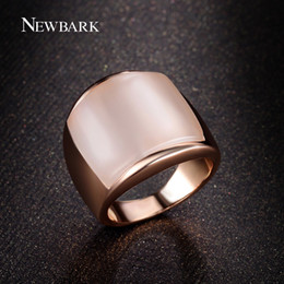 Wholesale Luck Stones Wholesale - Wholesale- NEWBARK Lovers Finger Ring Gift Synthetic Opal Stone Good Luck Jewelry For Man And Women Rose Gold Color Big Wide Rings Anel