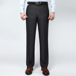 Wholesale Men Suits For Work - Wholesale-Summer Style Thin Mens Suit Pants 44 42 Work Pants Business Casual Flat Straight Pants Silk Trousers For Male Mid Waist Pants