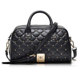 Wholesale Black Kim - Wholesale-Fashion high quality leather handbags kim Kardashian plaid rivet shoulder bag famous brand handbag women messenger bags work bag