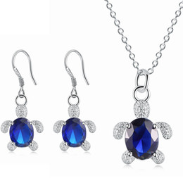 Wholesale Turtles Earrings - Lovely Jewelry Set Silver Plated AAA Red Blue Green Rhinestone Turtle Earrings Necklace Set for Girls Women Nice Gift JS-126