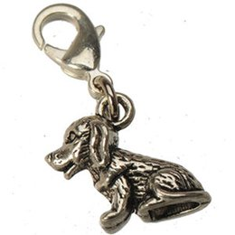 Wholesale Wholesale Handmade Metal Bracelets - Charms With Toggles For Bracelets Bangles Necklaces Dangles DIY Animal Dogs Antique Silver Metal Handmade Wholesales Craft Fittings 100pcs