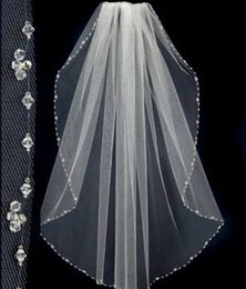 Wholesale Ivory Lace Veils Short - 2015 New Design Short Wedding Veils With The Beaded Pinterest Popular White Cheap Veils Bridal One Layer Wedding Lace Veil
