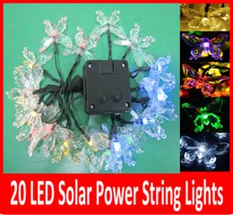 Wholesale Led Butterfly Tree - 20 LED Solar Outdoor String Fairy Lights butterfly Solar Powered Outdoor String Lights Garden Camping Patio Party Christmas Multi-color