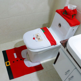 Wholesale Toilet Ornaments - 2016 Wholesale Chrismas Decoration Toilet Seat Cover & Rug Bathroom Set New Santa Decor Bathroom Ornaments 50pcs lot RD91