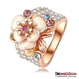 Wholesale Swa Elements - Hotting Sale Jewelry Ring With Rose Gold Plate SWA Elements Austrian Crystal Enamel Flower Wedding Ring For Women Ri-HQ0155
