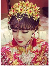 Wholesale Gold Cheongsam Wedding Dress - The new bride wedding headdress costume Chinese dress clothing headwear Xiuhe Coronet cheongsam gown dragon hairpin