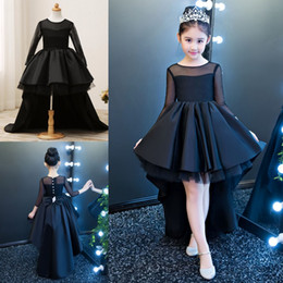Wholesale High Low Wedding Dresses Sale - Hot Sale O-neck Long Sleeve Flower Girl Dresses Black High-low Button Back Girls Pageant Dresses First Communion Dresses For Wedding