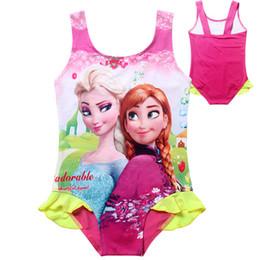Wholesale Girls Bikinis Cheap - 2015 Cheap Kids Ice Snow Princess One-Piece Swimsuit Cute Baby Kids Tutu Swimwear Girls Cartoon Bikini Children Beach Swimming Clothing