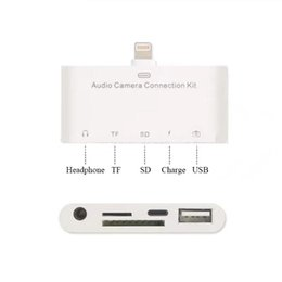 Wholesale Hdmi Connection For Ipad - For iPhone 5 6 6s 7 ipad Series lightning Audio Camera Connection Kit 5 in 1 out audio adapter lightning camera reader adapter