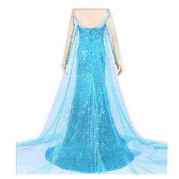 Wholesale Ice Queen Costumes - 2016 Women Street Style Dress Elegant Frozen Elsa Ice Queen Women Dress SkirtDresses Cosplay Costume Fancy Elsa adult dress with rhinestone