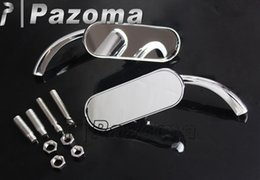 Wholesale Mirrors For Sportster - Chrome Mini Oval Motorcycle Mirrors for Cruiser bikes Dyna Softail Sportster Touring clear sheet glass - Pazoma