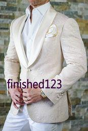 Wholesale Business Pants Suits - Classic Design Ivory Paisley Groom Tuxedos Groomsmen Best Man Suit Mens Wedding Suits Bridegroom Business Suits (Jacket+Pants+Tie) NO:626