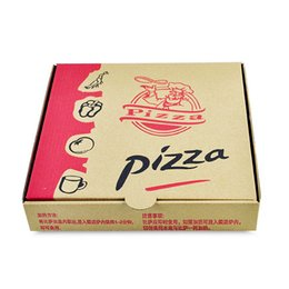 Wholesale Eco Friendly Paper Packaging - 9 inches Disposable Kraft Paper Pizza Box Eco Friendly Takeaway Party Dessert Cake Box Pizza Packaging 100pcs lot SK804