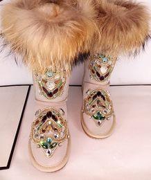 cadeias de tornozelo de qualidade Desconto Vintage Rhinestone Fox Fur Bridal Shoes Cadeias Mulheres Wedding Shoe Alta qualidade Ankle Comprimento Botas Winter Warm Wear