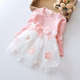 Wholesale Tutu Stars - The new girl fall 2016 Han edition of the girls flowers bow long-sleeved dress star with the dresses BH1373