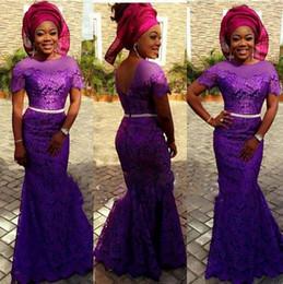 Wholesale Shor Dresses - Shor Sleeve Lace Sheer Neck Prom Dresses with Sash Mermaid Purple Party Evening Dress Cap Seelve Nigrian Women Pagaent Gowns Robe De Soirre