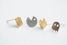 ghost earrings Promo Codes - 10Pair- S013 Gold Silver Pacman or Pac Man Stud Earrings Cute Ghosts Stud Earrings Game Fun Cartoon Earrings Stud for Girl