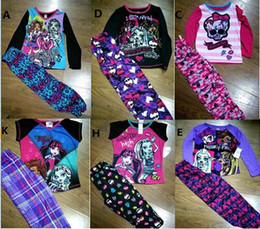 Wholesale Girls Cartoon White T - New girls cartoon winter Monster High School suit t-shirt+leggings 2pcs ever after high pajama suits baby kids sleepwear Sets