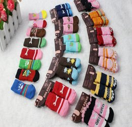 Wholesale Shoes Large Sizes Female - 2014 Pet autumn&winter Dog & Cat Socks Pets Sock Skidproof Nonslip Warm Comfortable S M L size mix 4pc pair.400pc lot for pet gift