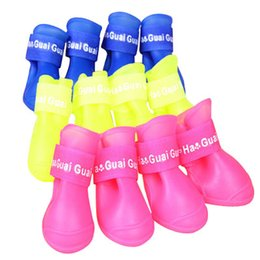 Wholesale News Dogs - News Pet shoes DOG BOOTS Waterproof Protective Rubber Pet Rain Shoes Booties of Candy Colors free shipping
