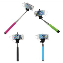 Wholesale Stainless Steel Smartphone - Wired Selfie Stick Handheld Monopod Built-in Shutter Extendable + Mount Holder For iPhone Samsung HTC LG Sony Smartphone Camera camcorder