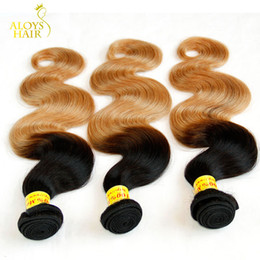 Wholesale Cheap Two Tone Hair - Ombre Human Hair Weave Grade 8A Malaysian Body Wave Virgin Hair Extensions Two Tone 1B 27# Honey Blonde Cheap Ombre Remy Hair Bundles