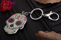 Wholesale Wholesaler Bags - Skull head with New KeyChain Pendant Purse Bag Car Key Chain ring New Fashion Lover Gift Y102