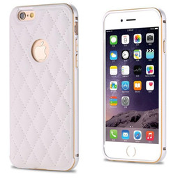 Wholesale Leather Aluminum Frame Bumper Case - Phone Cases For iphone 6S Plus Luxury Metal Aluminum Frame Bumper + Grid Skin Leather Case For Apple iphone 5S Ultra Thin Slim Back Cover