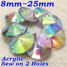 Wholesale Rivoli 18mm - 8mm 10mm 12mm 14mm 16mm 18mm 20mm 25mm 100Pcs Lot Crystal AB Color Sew On Acrylic Round Rivoli Stones