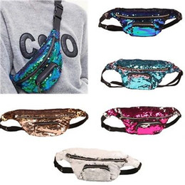 Wholesale Bum Bags - Teenager Kids Mermaid Waist Bag Sequins Glitter Travel Hip Purse Zip Pouch Shoulder Bags Outdoor Sport Bag Bum Bag Pouch Hip Purse YYA832