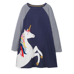 Wholesale Butterfly Sleeves - Kidsalon Unicorn Appliques Christmas Dress Girls butterfly Party Dress 2018 Brand New Long Sleeve Girls Dress for Kids Clothing